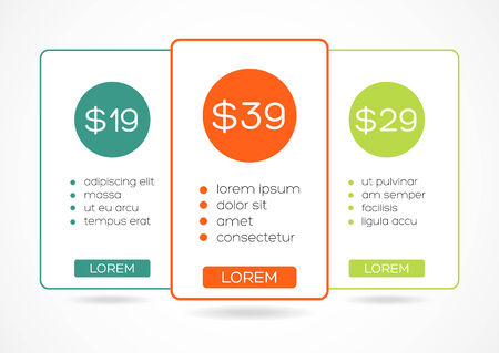empty table: Simple colorful price table with 3 possibilities  isolated