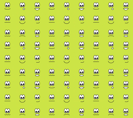 contended: Green seamless pattern with different emotions - happy, sad, surprised, contended, angry, etc  Illustration