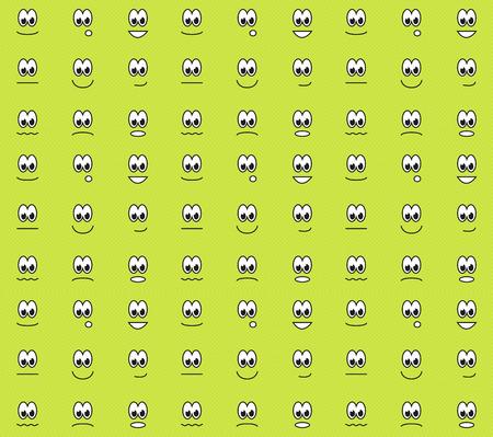 happy sad: Verde seamless con diverse emozioni - felice, triste, sorpreso, conteso, arrabbiati, ecc Vettoriali