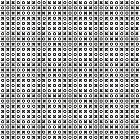 Black and white seamless pattern full od tic tac toe Vector
