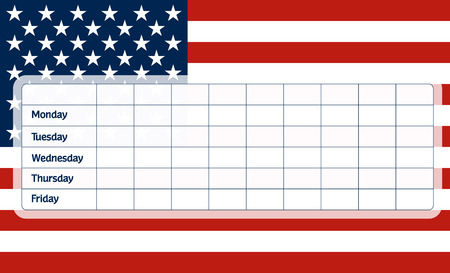 classes schedule: School timetable with flag od the United States of America Illustration