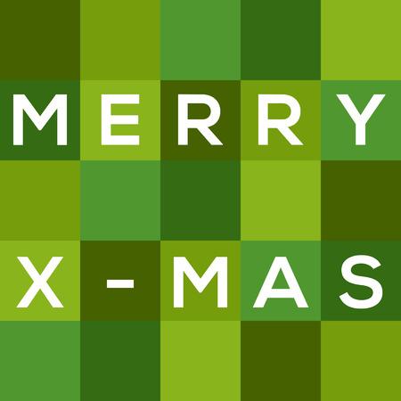 merry chrismas: Merry Chrismas  X-mas  card in shades of green Illustration