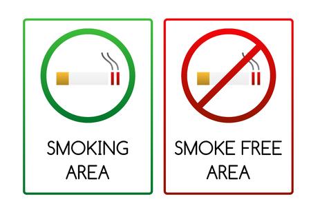 Two smoking signs - for smoking area and non-smoking  smoke free  area