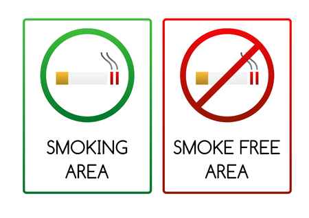 tabacco: Two smoking signs - for smoking area and non-smoking  smoke free  area