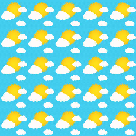 Seamless pattern of sky during sunny day with sun and some clouds