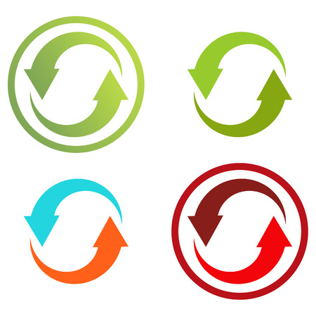 4 isolated colorful icons for recycle or just 2 circular arrows for infographic Çizim