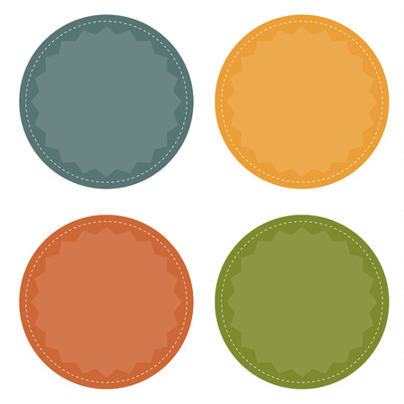 Set of 4 blank colorful badges  buttons  in vintage colors Vector