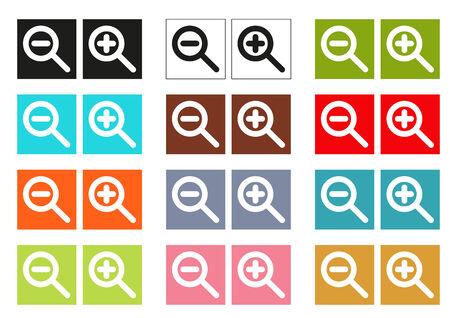 zoom in: Conjunto de 12 cursores de colores aislados (iconos) para acercar y alejar la imagen