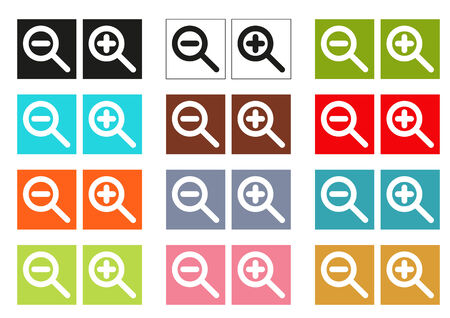 zoom in: Set of 12 isolated colorful cursors (icons) for zoom in and zoom out Illustration