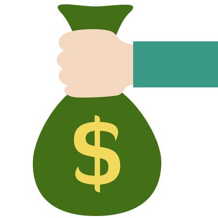 cash in hand: Icono de colores para el efectivo - la mano con una bolsa llena de dinero Vectores