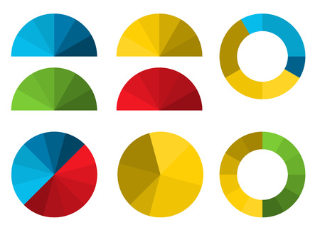 Set of 4 colorful half pie diagrams in color shades and 4 full pie diagrams in these color shades - for your presentation of infographic Ilustração