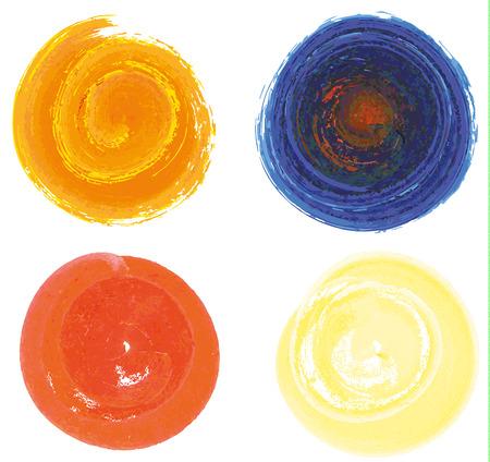 水彩画、グラフィック スタイルの 4 分離完全な円のセットします。  イラスト・ベクター素材