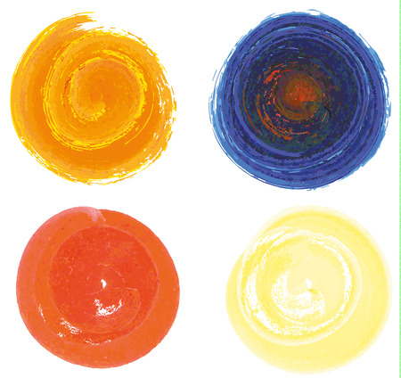 Set of 4 isolated full circles in watercolors style for your graphic