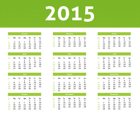 2015 calendar in light style with green halftone effect Vector