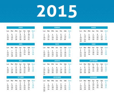 スペイン語で青いハーフトーン スタイル (月曜日から日曜日) で 2015年カレンダー  イラスト・ベクター素材