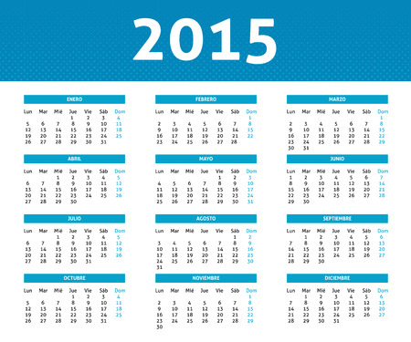 2015 calendar in blue halftone style (Monday to Sunday) in Spanish