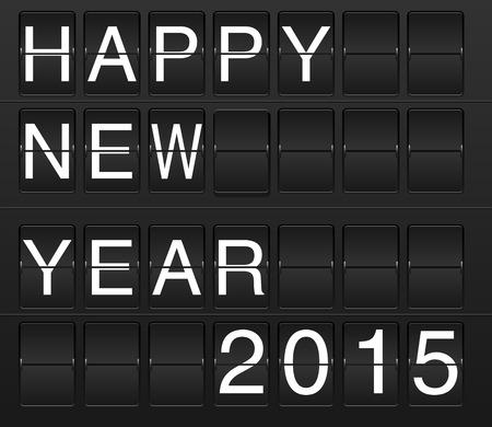 display board: Happy new year 2015 card in display board style (solari board, flightboard, flipboard) Illustration