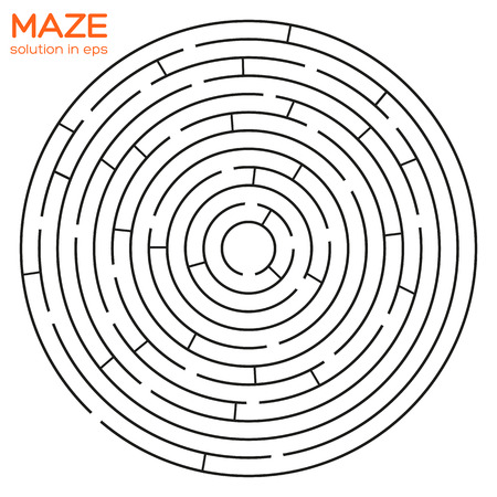 Isolated circular maze with solution  Vector