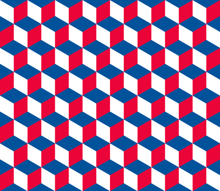 Seamless hexagonal (cube) pattern in official colors of the Czech Republic Vector