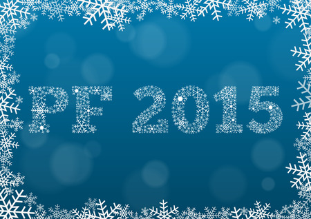 Happy new year (PF - Pour feliciter) 2015 made of snowflakes on dark blue background in snowflake border