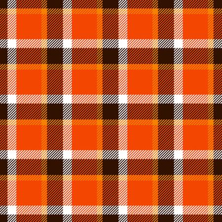 Seamless tartan texture in orange, brown and white