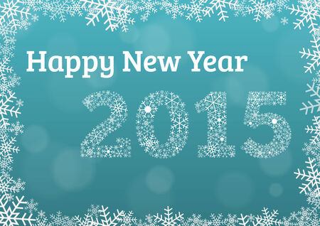 Happy New Year 2015 card with snowflake frame and text 2015 made of snowflakes and place for your signature