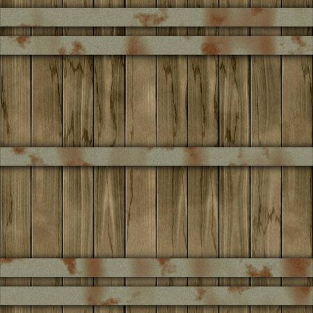 Seamless barrel illustration made of brown (wooden) planks illustration