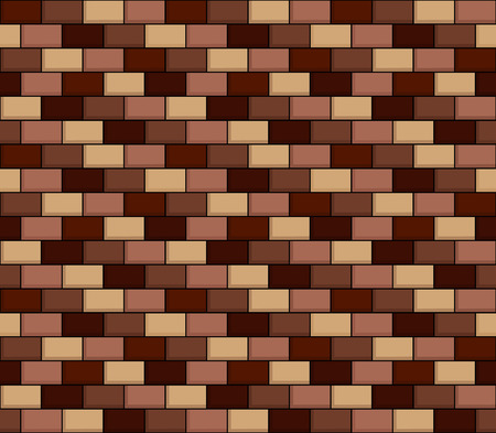 Seamless texture of cartoon brick wall in shades of brown Illustration