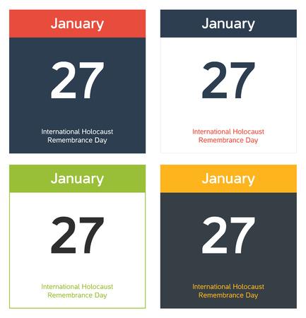 remembrance day: 4 fogli di calendario isolate per 27 gennaio - Giornata della Memoria Vettoriali