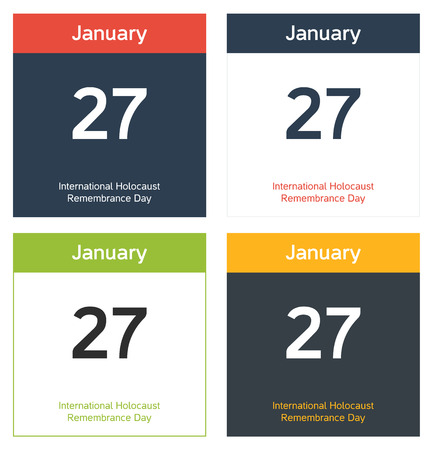 remembrance: 4 isolated calendar sheets for 27th January - International Holocaust Remembrance Day