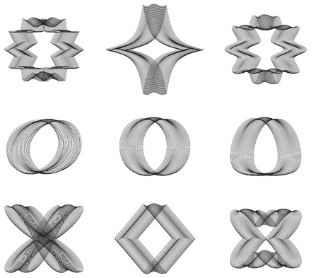 etno: Set of 9 abstract ornaments made form lines
