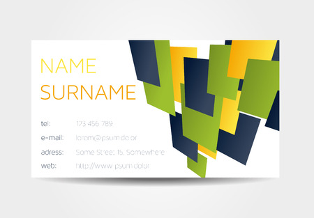 One sided colorful business card with 3d rectangles Illustration