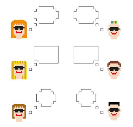 8bit: Set di teste di carattere pixel 6 isolato 8bit con fumetti