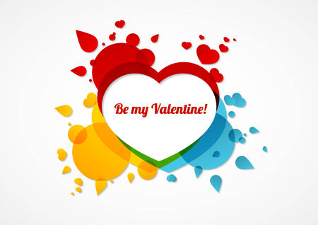 bg: Be my Valentine colorful card - text on white bg can be easily deleted and replaced with your text
