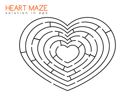labirinth: Isolated maze in the shape of heart with solution in hidden layer of eps