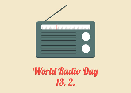 world receiver: World Radio Day poster with old radio in flat design
