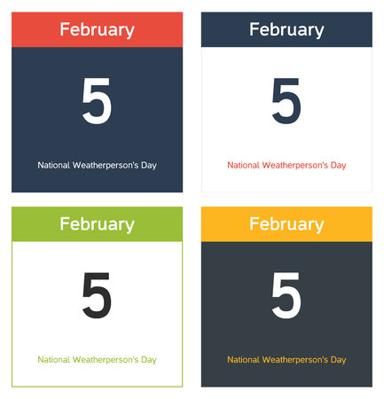 4 calendar sheets with 5th February date - National Weatherperson