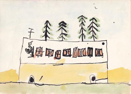 motorbus: Ilustraci�n original de autocares con chofer - imagen digitalizada, de 6 a�os de edad, (acuarelas y tinta)
