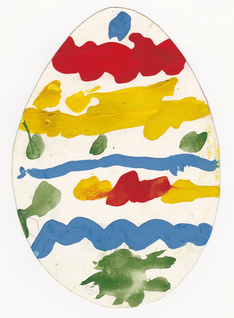 4 year old: Original child picture of egg painted with tempera paints - scanned picture of 4 year old girl
