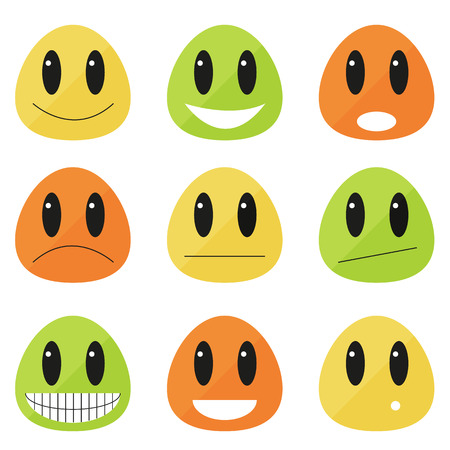 Set of 9 emoticons - flat blobs with different expressions Vector