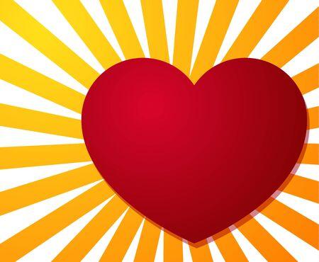 Big red heart on background made of yellow - orange stripe burst Vector