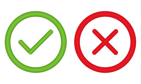 wrong: Unusual right and wrong symbol in circle - for any use Illustration
