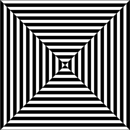 斜めの線で pyramis またはトンネル (オップ ・ アート) の光学錯覚を作る白、黒で・ スクウェアのイラスト 写真素材 - 36047748