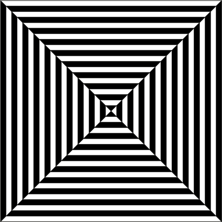 Illustration of sqaures in black an white with diagonal lines making an optical illusion of pyramis or tunnel (op art)