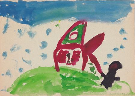 bugaboo: Immagine originale digitalizzata della bambina di 6 anni - strega (bugaboo) vicino alla casa sulla collina
