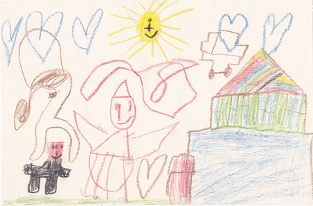 scanned: Original scanned picture of 5 year old girl - house, creatures, sun and hearts Stock Photo