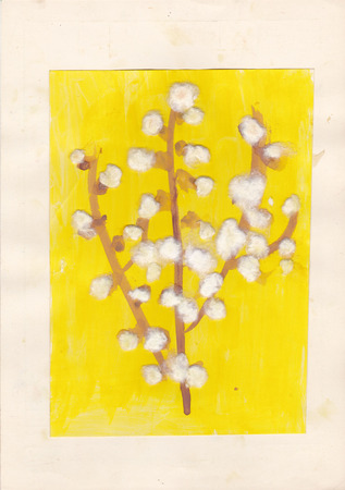 scanned: Original scanned picture of 6 year old girl - blossoms of goat willow (pussy willow), cotton wool and watercolors on paper Stock Photo