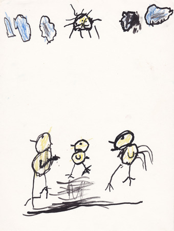 scanned: Original scanned picture of 5 year old girl - chickens - ink and crayons Stock Photo
