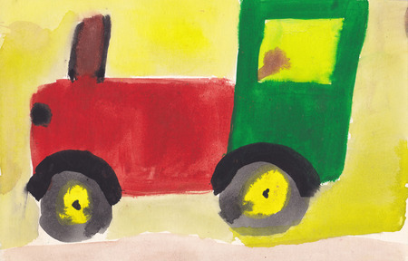 scanned: Original scanned picture of 7 year old girl - tractor on road to field