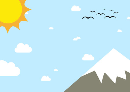 overlook: Landscape with peak of the mountain during sunny day with a lot fo copyspace Illustration